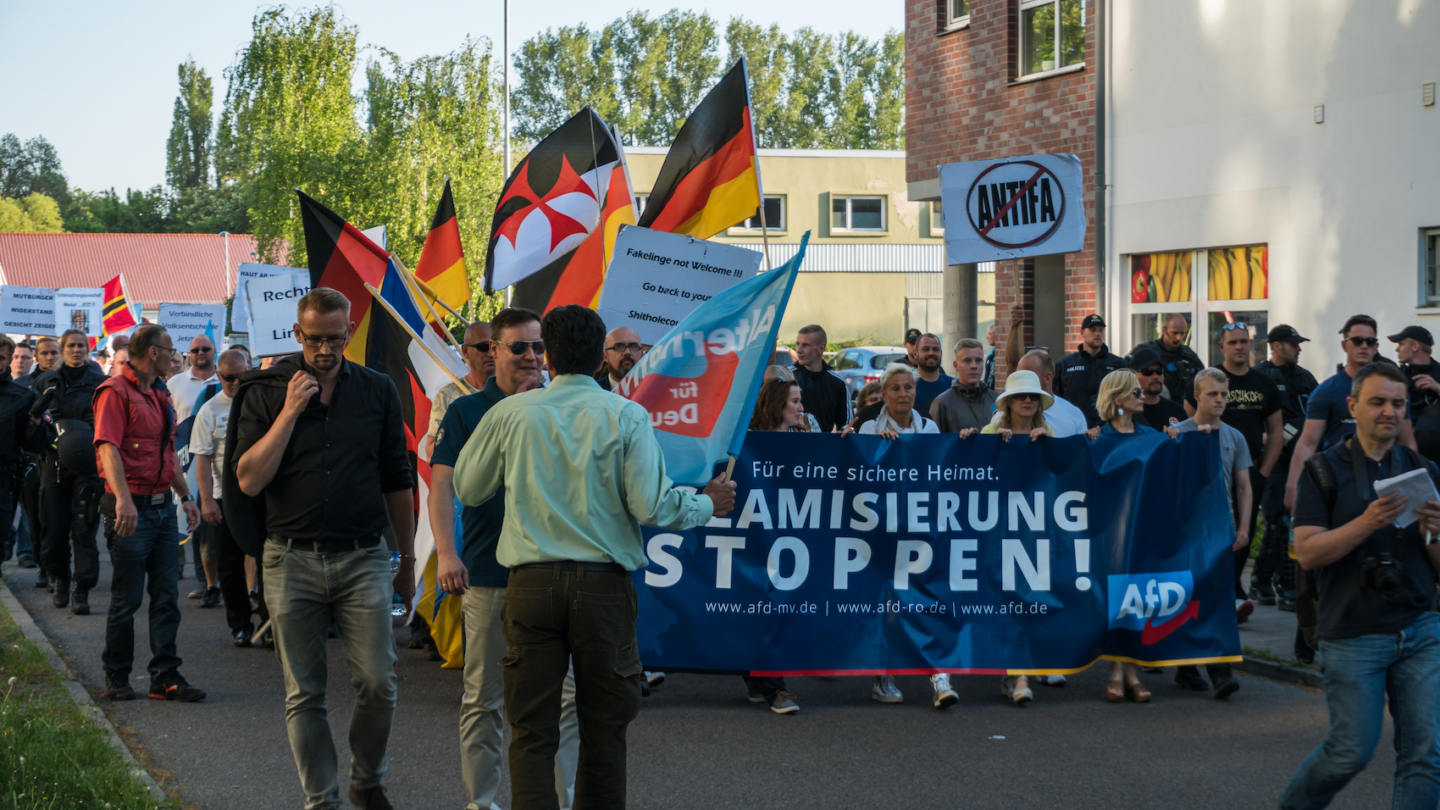 """AfD demonstrated with slogan """"Stop Islamization"""" in Rostock on May 14, 2018. AfD, Alternative for Germany, is a right wing political party in Germany."""