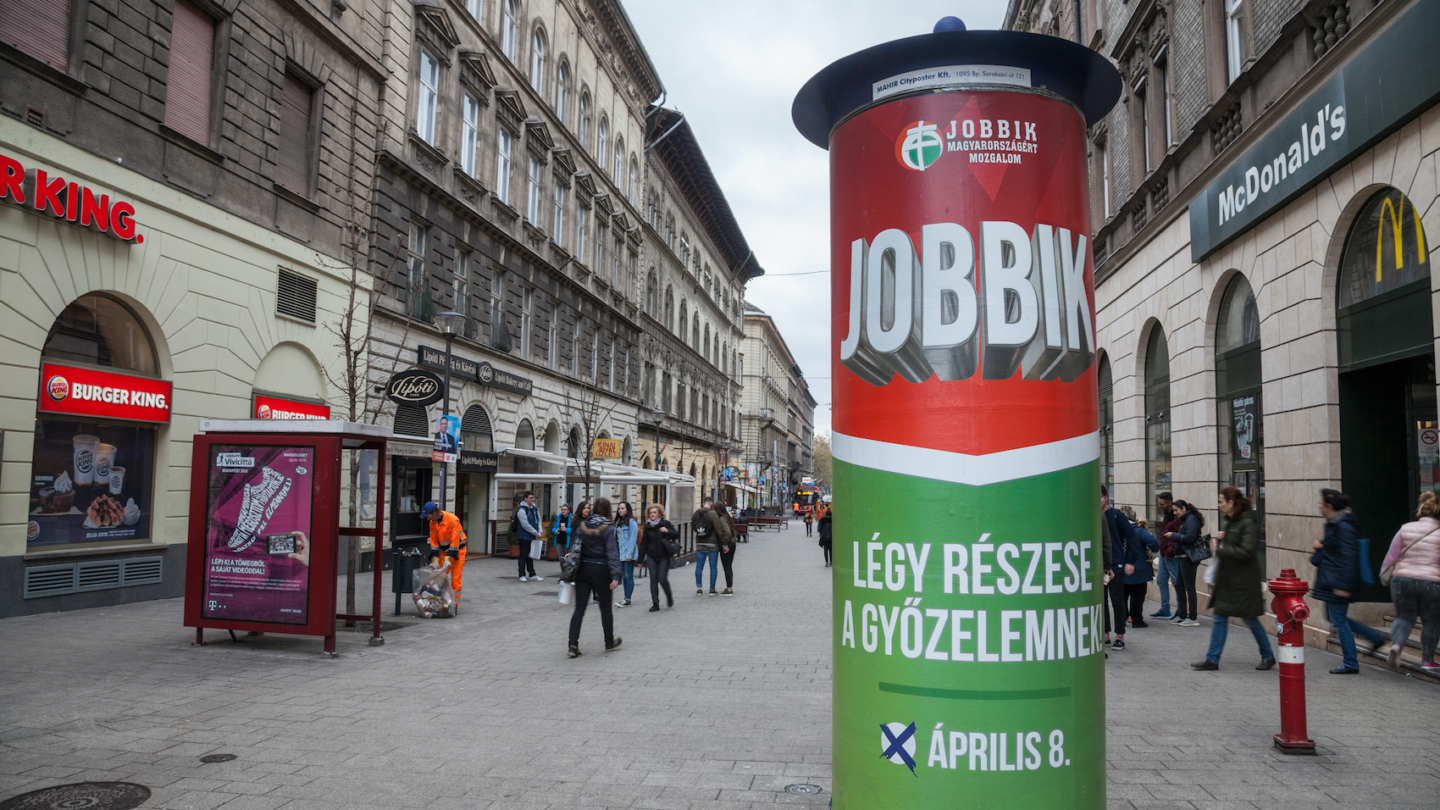 Hungary which has populists in both the government (Fidesz) and in the main opposition (Jobbik) is one of the best examples for populist democracies. Far-right main opposition party Jobbik's electoral poster seems in the streets of Budapest for the parliamentary elections of 2018.