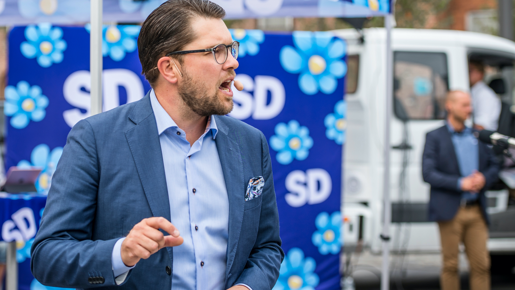 Sweden Democrats' Square Meeting in Umeå. Jimmie Åkesson speaks to the people on the city square in Umeå, Sweden on August 14, 2018.