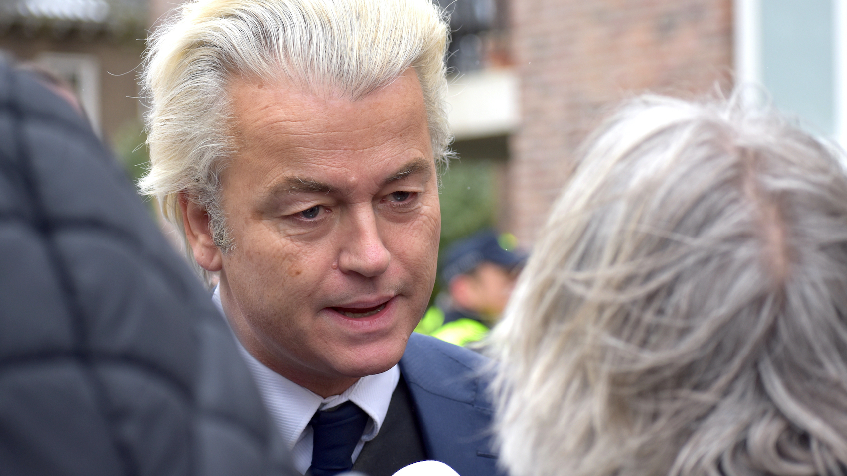 Dutch right-wing populist Geert Wilders campaigns on behalf of his Freedom Party ahead of municipal elections in Spijkenisse, Netherlands on March 17 2018.