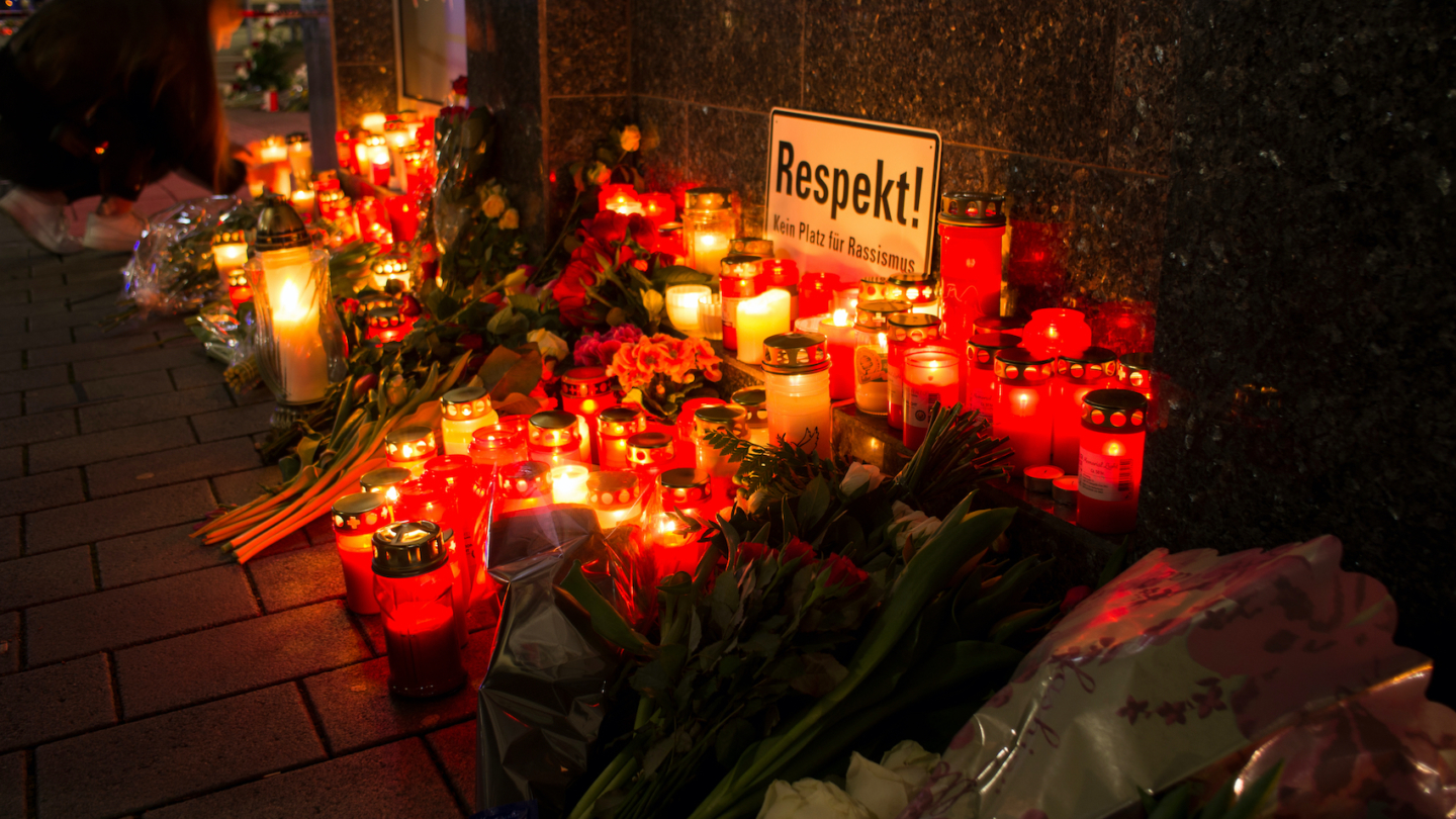Flowers and Candles at the Hanau shooting site as a remembrance to the victims of right extremist terror attack in Germany on February 20, 2020.
