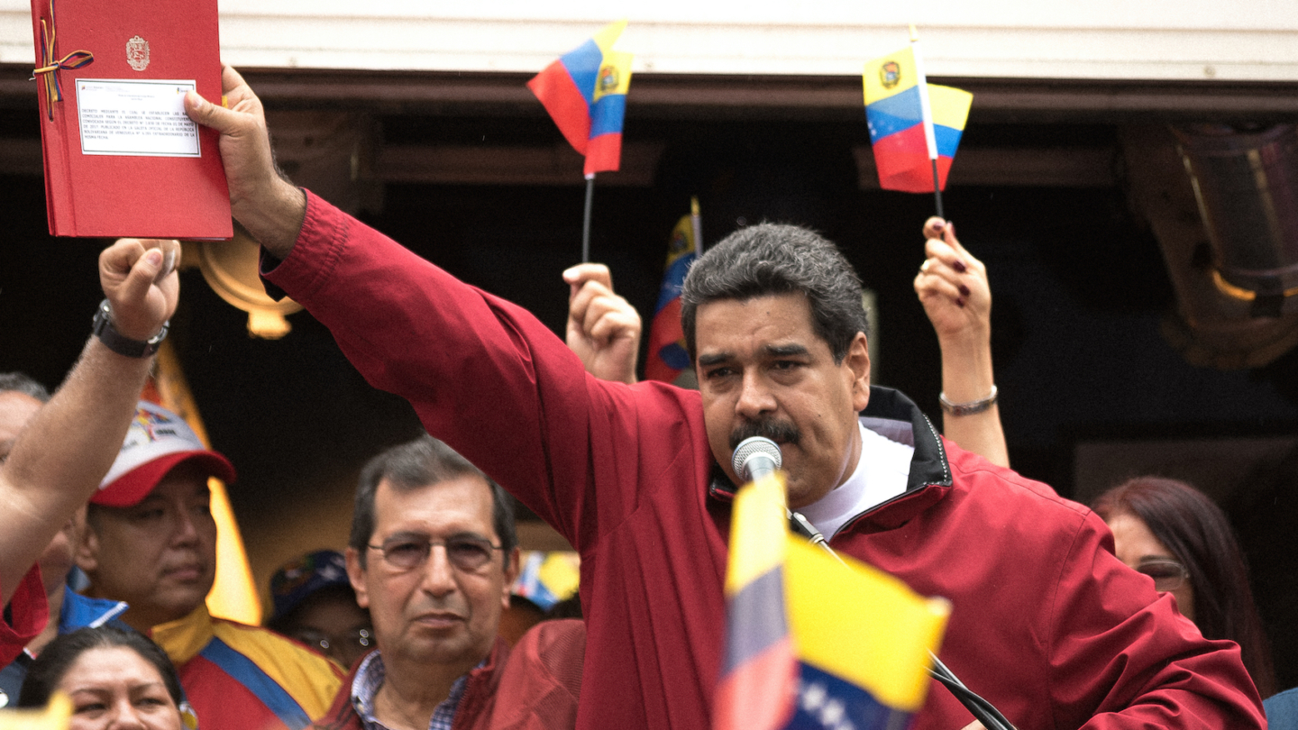 Venezuelan president Nicolas Maduro speaks in an act to support to Assembly Constituent in Caracas, Venezuela on May 23, 2017.