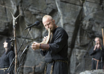 A concert of Norwegian band Wardruna at Cathedral Cave, Kirkehelleren on Sanna Island during Traenafestival that is a music festival taking place on the small island of Traena in Norway on July 8, 2017. Photo: Melanie Lemahieu