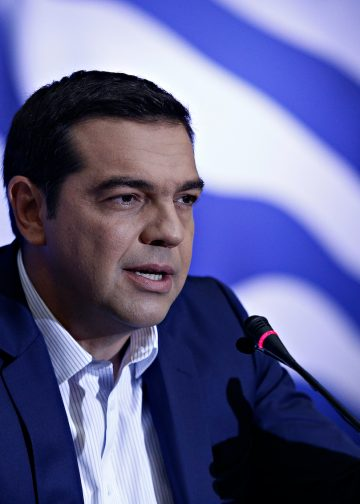 Former Greek Prime Minister Alexis Tsipras gives press conference of 81st Thessaloniki International Fair in Thessaloniki, Greece on Sept. 11, 2016. Photo: Alexandros Michailidis