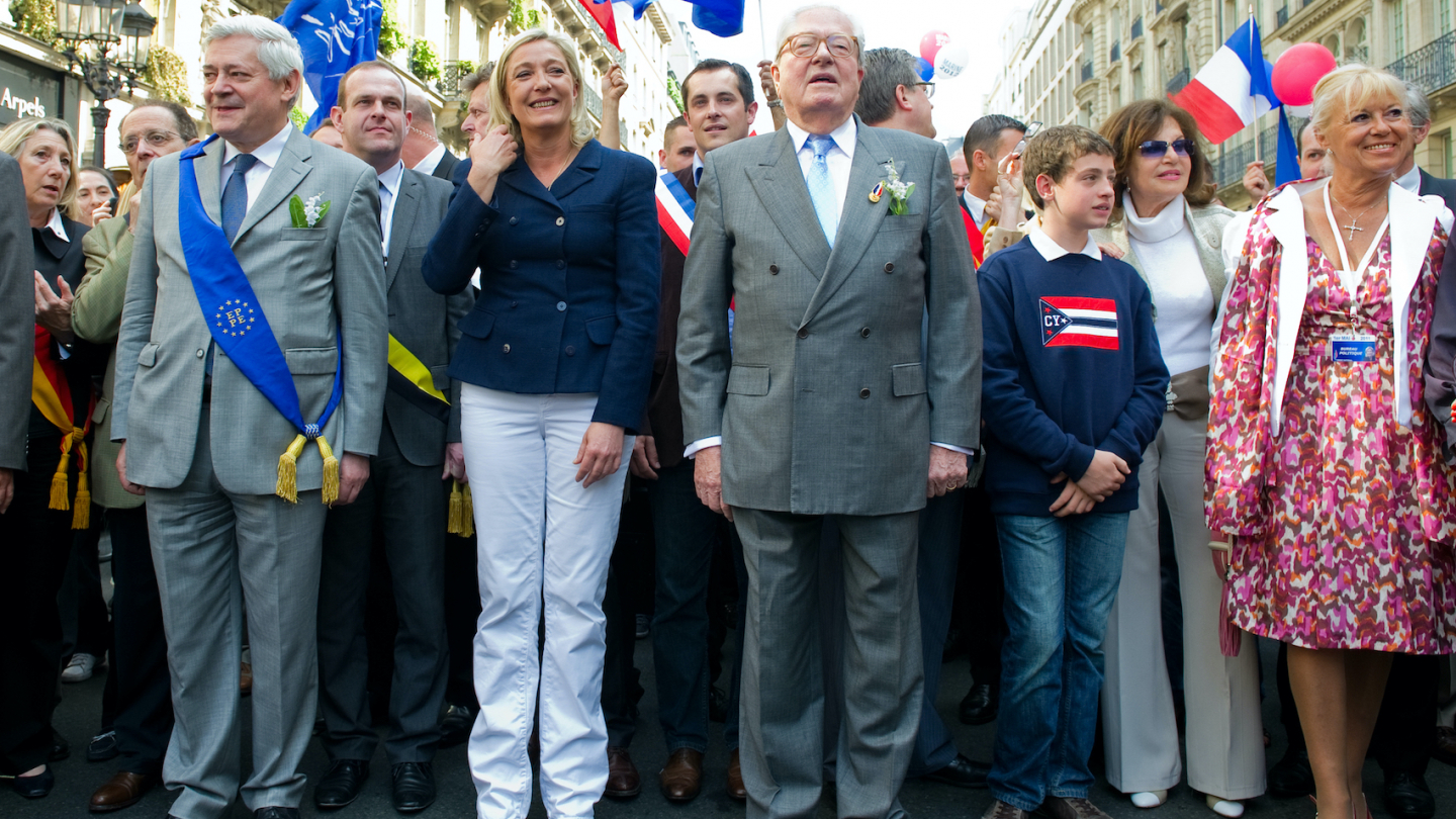 Marine and Jean-Marie Le Pen rallied during the meeting for the celebration of May 1, 2011 in Paris, France. Photo: Frederic Legrand