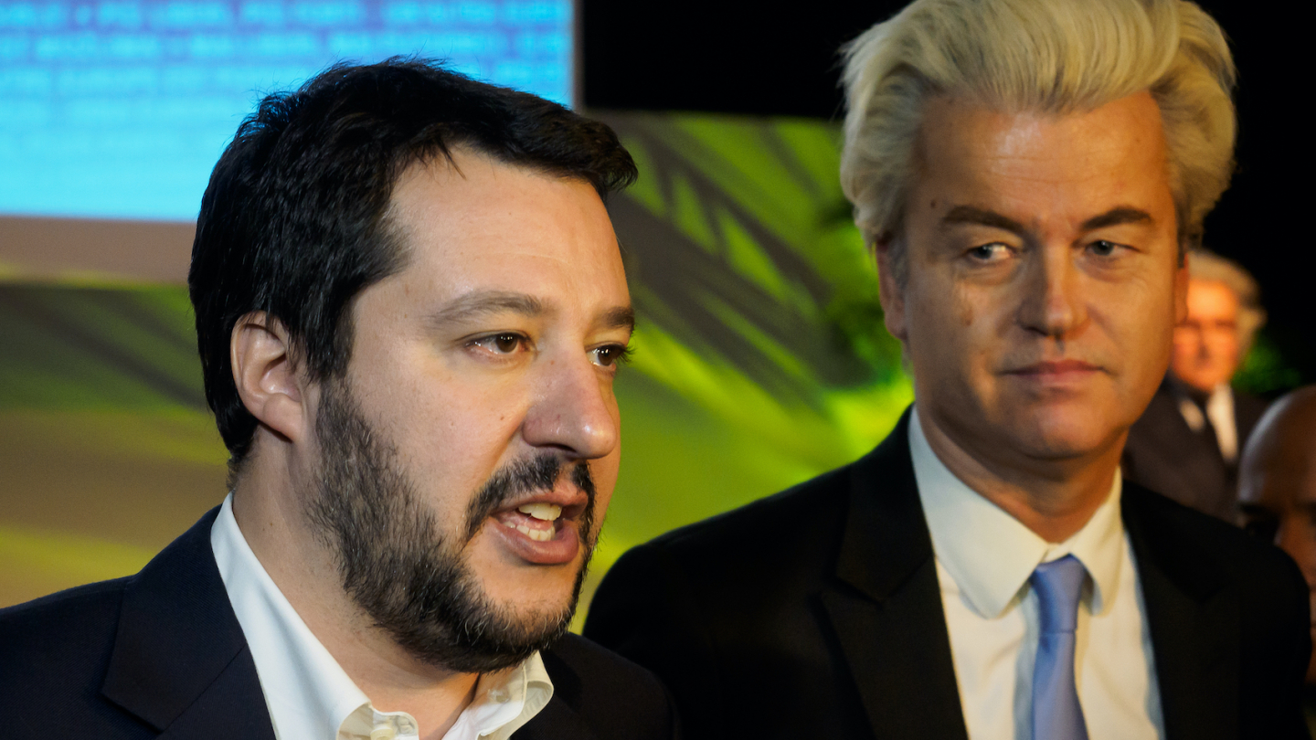 Secretary of Northern League Matteo Salvini and PVV leader Geert Wilders, after the closing press conference of the first ENF Congress at the MiCo Center in Milano on January 29, 2016. Photo: Marco Aprile