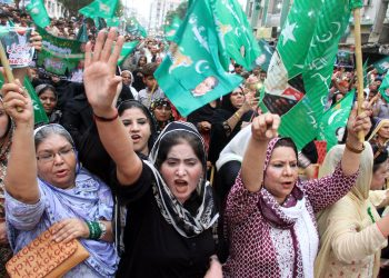 Supporters of (PML-N) are showing their zeal during public gathering meeting regarding general election campaign held at Lyari area in Karachi, Pakistan on June 26, 2018. Photo: Asianet-Pakistan