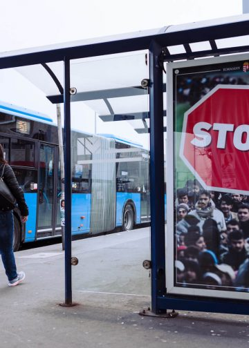 """Hungarian government's anti-immigration billboard says """"STOP the refugees"""" in Budapest, Hungary on April 4, 2018."""