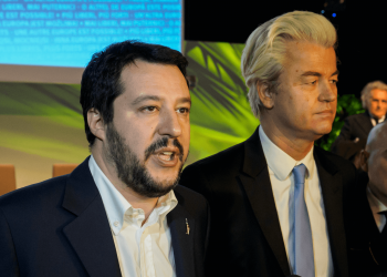 Secretary of Northern League, Matteo Salvini, and PVV leader, Geert Wilders, after the closing press conference of the first ENF congress at the MiCo center in Milano on January 29, 2016. Photo: Marco Aprile
