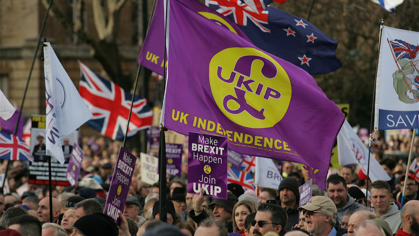 UKIP's Brexit Betrayal Rally in London with Tommy Robinson and Gerard Batten on September 09, 2018.