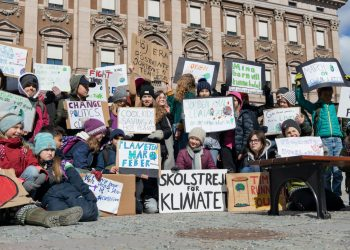 Climate activists joining 16-year-old Swedish Greta Thunberg for school strike against climate change in Stockholm, Sweden on April 12, 2019. Photo: Per Grunditz