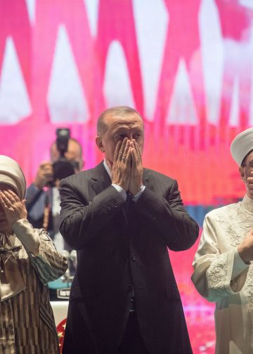 Turkey's President Recep Tayyip Erdogan and Ali Erbas, the head of the Directorate of Religious Affairs (Diyanet) is seen during a public rally in Istanbul on the second anniversary of failed coup attempt on July 15, 2016.