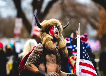 Jake Angeli or QAnon Shaman was among those who participated in the riots initiated by former US President Donald Trump at the Capitol, Washington D.C. on January 6, 2021. Photo: Johnny Silvercloud