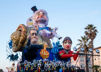 Caricature of The Five Star Movement in carnival parade of floats and masks, made of paper-pulp in Viareggio, Tuscany, Italy in January 2018.