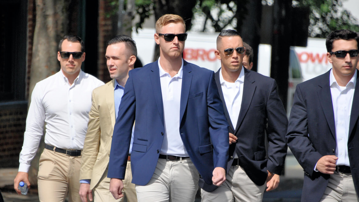 Richard Spencer, Nathan Damigo, Tim Gionet & entourage arrives during a white nationalist rally in Charlottesville, VA that turned violent resulting in one death and multiple injuries on August 12, 2017. Photo: Kim Kelley-Wagner