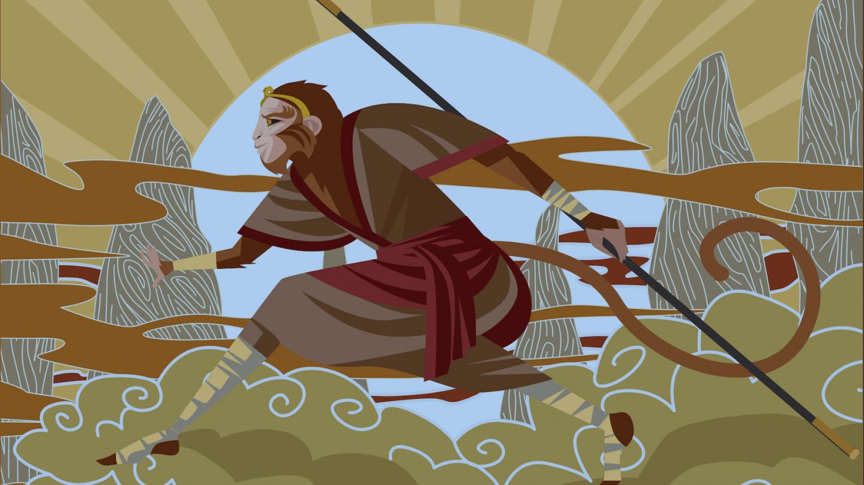Sun Wu Kong, the Monkey King in Chinese mythology warrior tale.