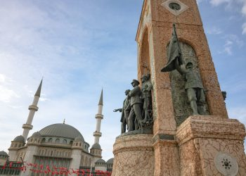 Recently-built Taksim Mosque and Republic Monument in Istanbul's Taksim Square symbolises new and old Turkey. Photo: Sener Dagasan