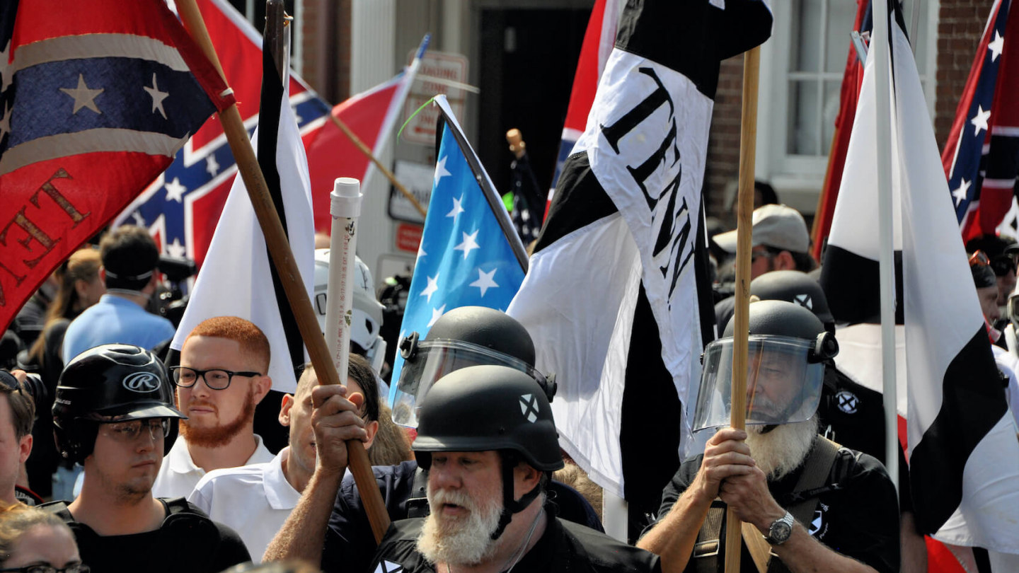 White nationalists and counter protesters clash in during a rally that turned violent resulting in the death of one and multiple injuries in Charlottesville, VA on August 12, 2017. Photo: Kim Kelley-Wagner.