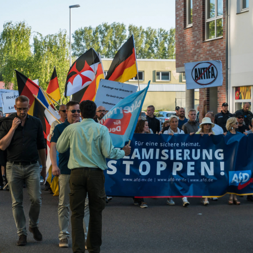 AfD demo with slogan Stop Islamization and counter demonstration of the Left in Luetten Klein in Rostock, Germany on May 14, 2018. AfD, Alternative for Germany, is a right wing political party in Germany.