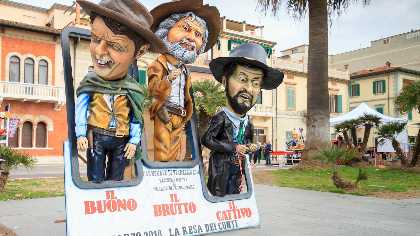 Caricature of Italian politicians Beppe Grillo, Matteo Renzi and Matteo Salvini in carnival parade of floats and masks, on January 2018 in Viareggio, Tuscany, Italy. Photo: Kokophotos.